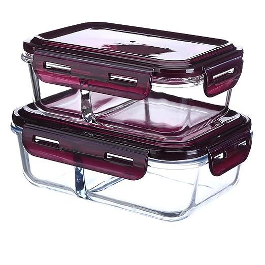 Separado con recipientes de vidrio en divide Bento box lunch box ...