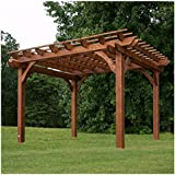 Pre-Stained Walnut Finish 100% Natural Cedar Wood Outdoor 10' x 12' Pergola