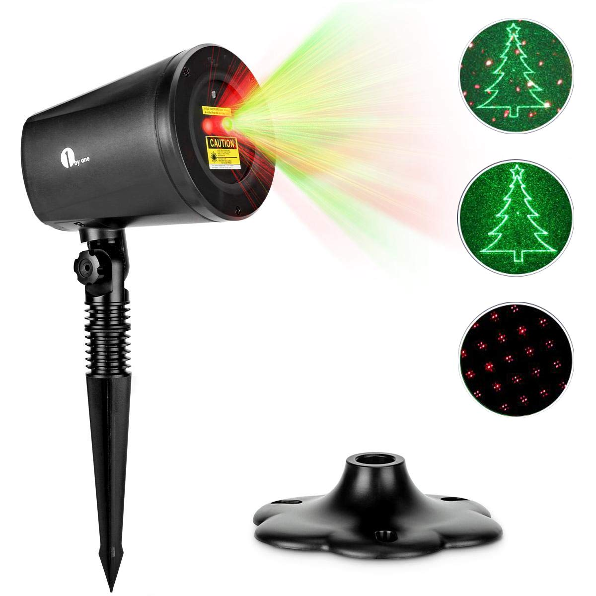 1byone Garden Laser Light Projector Christmas Lamp IP65 Waterproof Moving Rotating Flash RGB Green Christmas Tree and Red Stars for Xmas Holiday Halloween Party Landscape Indoor Outdoor Decoration