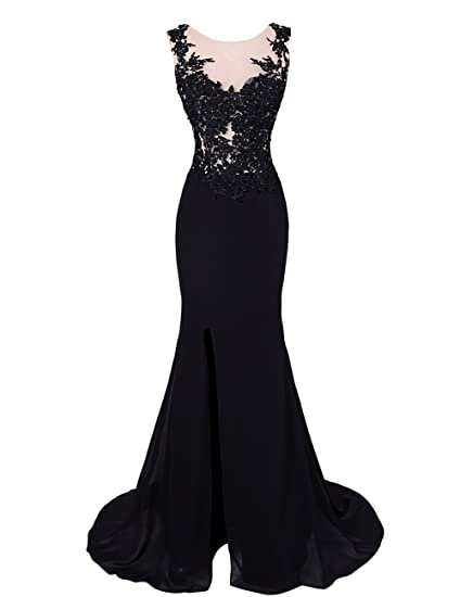 Dresstells Womens Mermaid V Neck Lace Prom Dress Evening Dress with Split Front Black Size 6