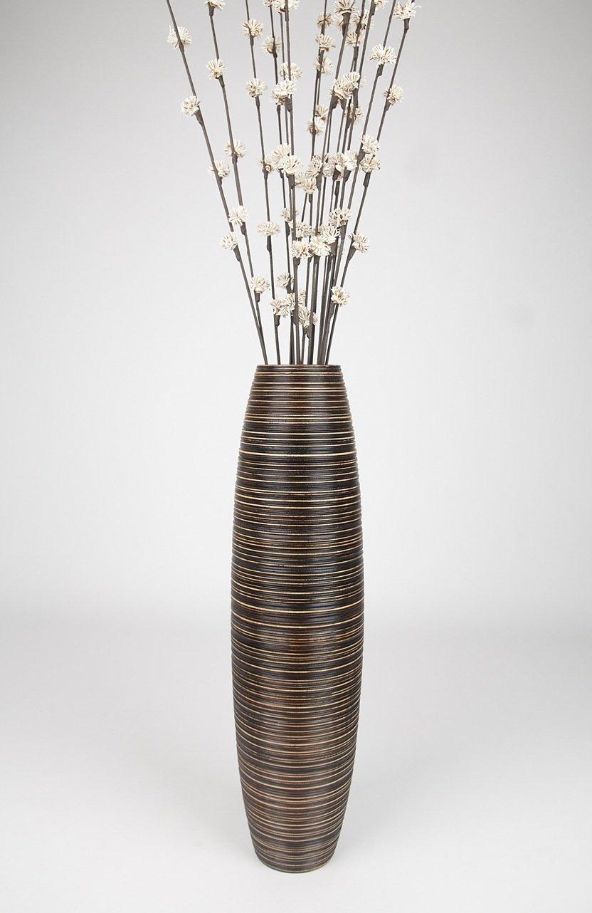 Thai Handmade Tall Floor Vase , Wood, Brown, 8''L x 8''W x 30''H. by WADSUWAN SHOP