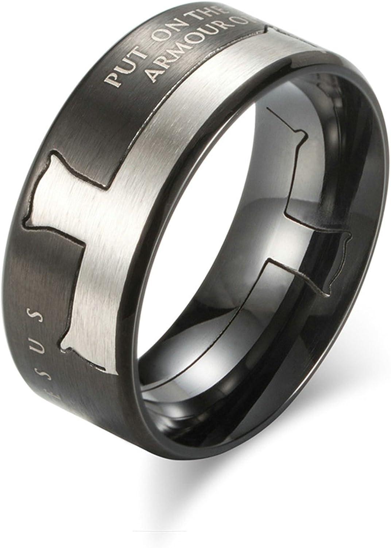 Bishilin 8MM Men Women Wedding Black Stainless Steel Ring 8mm Polished Finish Beveled Edge Comfort Fit Size 10