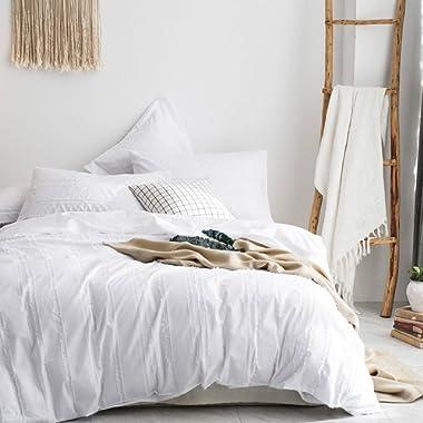 Merryfeel 100% Cotton Woven Stripe Duvet Cover Set-White Stripe Full/Queen