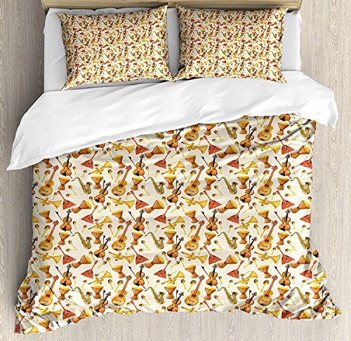 - VCFUN Family Comfort Bed Sheet Jazz Music Pattern with Horn Drum Guitar Fiddlestick Folk Music Ensemble Instruments, 4 Piece Bedding Sets Duvet Cover Oversized Bedspread, Queen Size