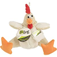 goDog Checkers Fat Rooster with Chew Guard Technology Tough Plush Dog Toy, White, Large