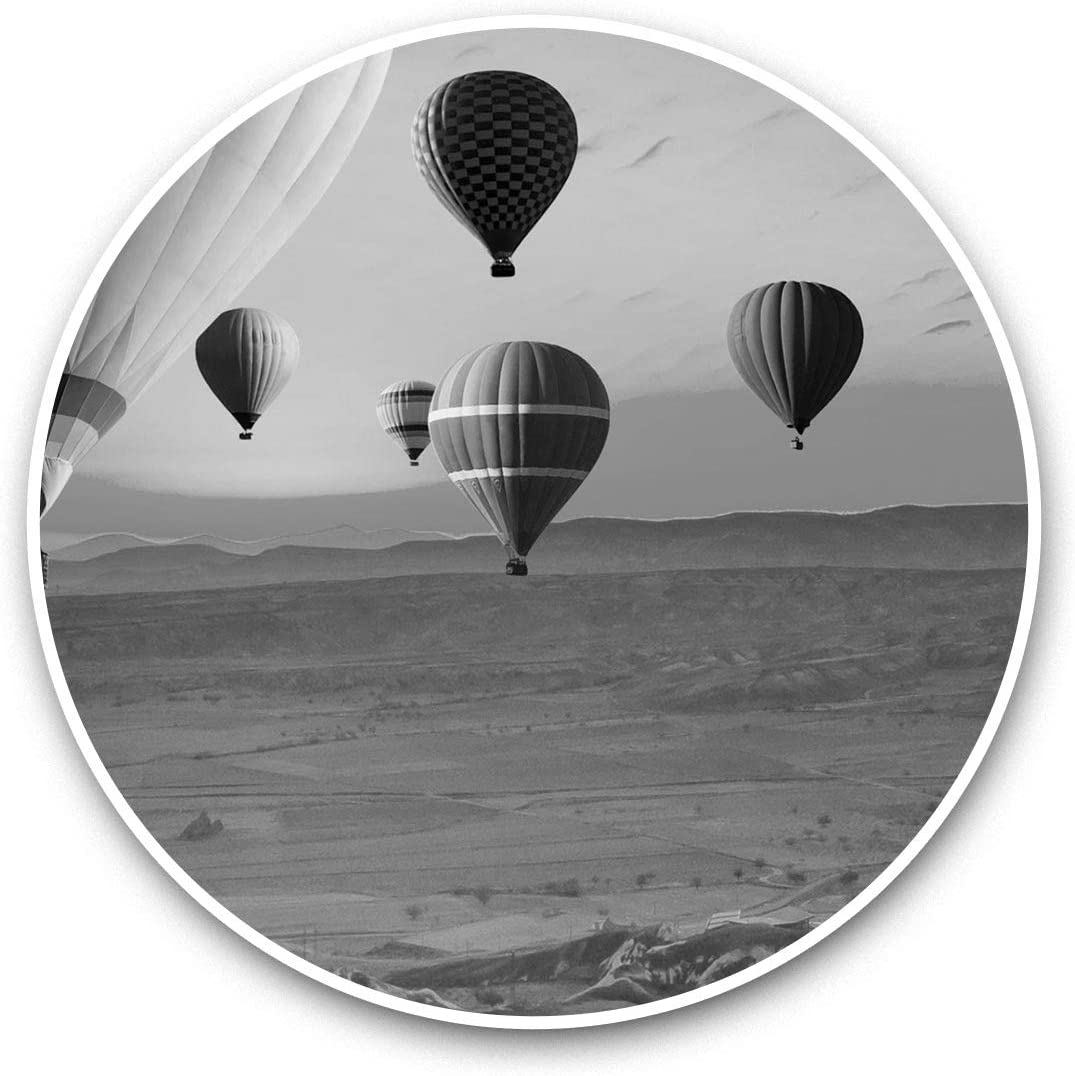 Vinyl Stickers (Set of 2) 15cm Black & White - Hot Air Balloon Landscape Balloons Laptop Luggage Tablet #35086