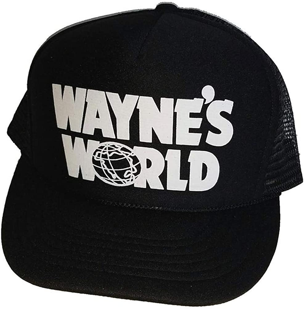 THATSRAD Adult Halloween Costume Wayne's World Snapback Hat Cap Black Trucker