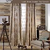 KoTing Floral Curtains Living Room Drapes Grommet 1 Panel Brown Curtains European Totem Net Yarn Flower Pattern Drapes 100 inch Long Extra Length For Sale