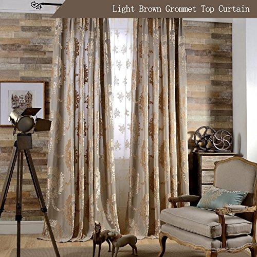 KoTing European Luxury Brown Curtain Living Room Royal Drapes Grommet Top 72W 96Long