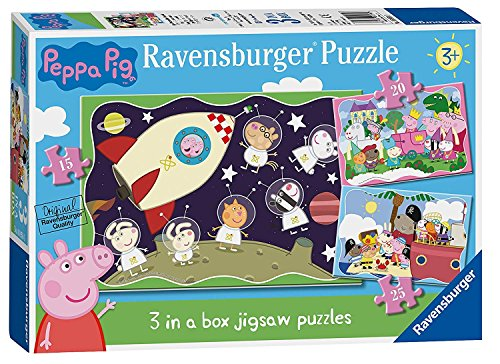 - Space Rocket Peppa Pig 3 in a Box Jigsaw Puzzle Pack Ages 3+