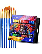 Acrylic Paint Tubes, 48 Colors of Ohuhu Artist's Acrylic Painting Kit Acrylic Paints for Stone, Canvas, Wood, Clay, Fabric, Nail Art, Ceramic, Crafts, 12ml x 48 Tubes Back to School Art Supplies