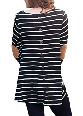 6d0b8626314 For G and PL Women Long Sleeve Striped Blouse Button Round Neck Casual  Shirts Cotton Tunic