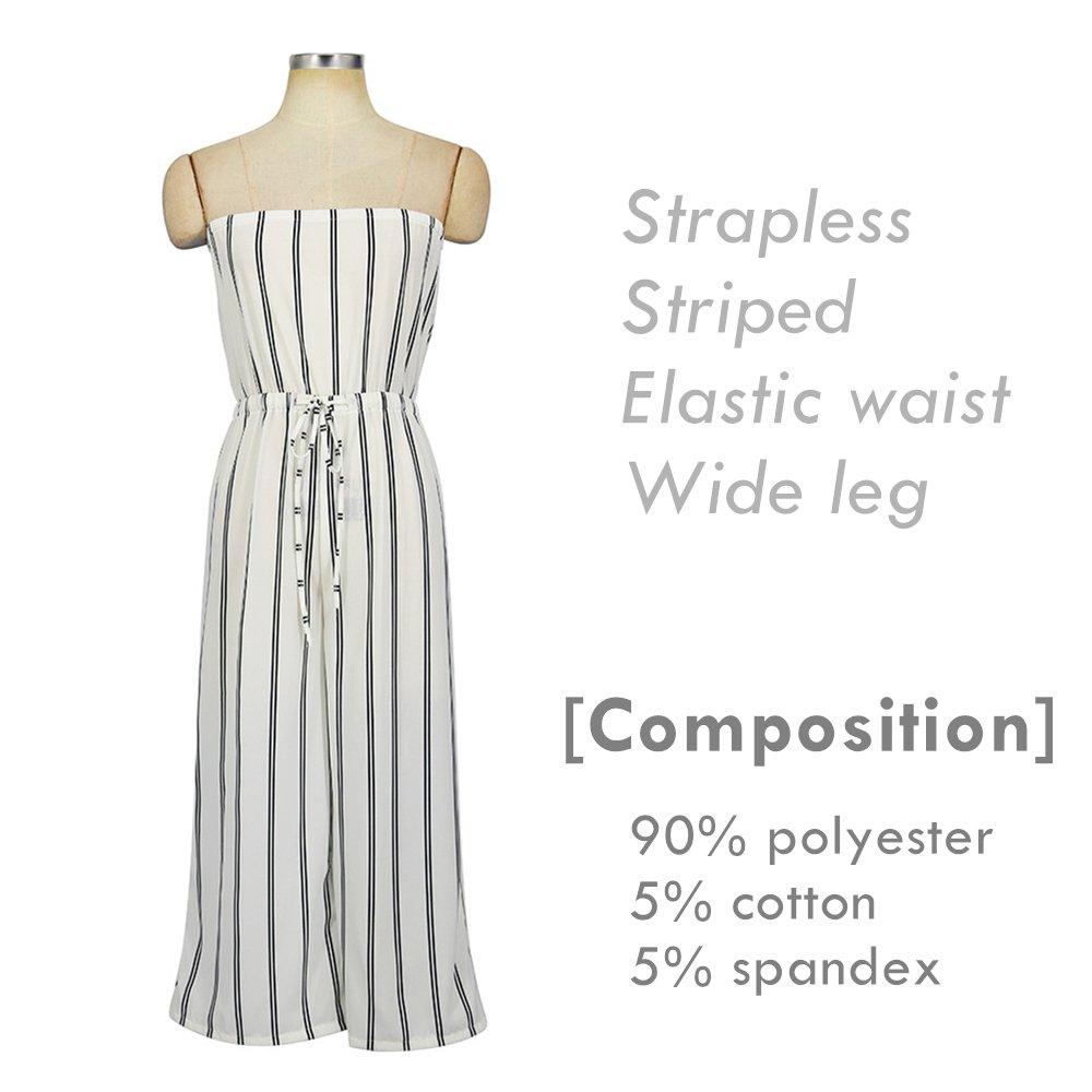 3d576804bc40 Amazon.com  INIBUD Jumpsuits for Women Stripes Strapless Off Shoulder Wide  Leg High Waist Sleeveless Striped Summer (White