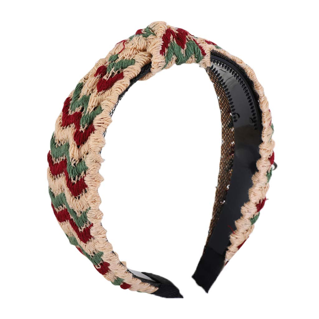 Women's Headbands Boho Flower Printing Twisted Criss Cross Elastic Hair Band Accessories (One Size, Beige)