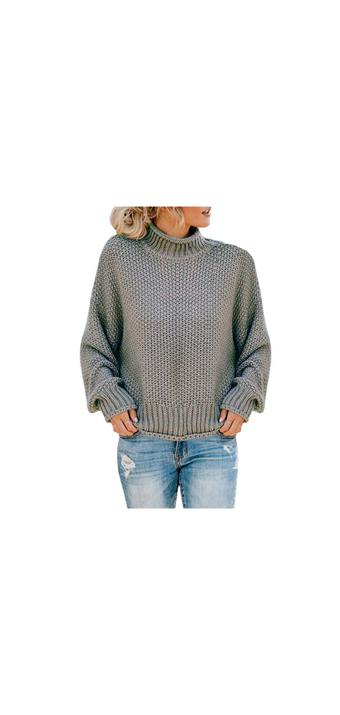 Womens Turtleneck Oversized Sweaters Batwing Long