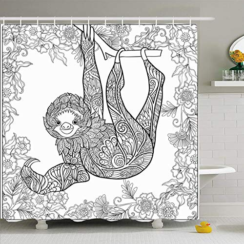 Ahawoso Shower Curtain 66x72 Inches Relaxation Wild Coloring Page Lovely Sloth Forest Nature Zoo Adult Book Bushes Contour Design Trees Waterproof Polyester Fabric Set with Hooks ()