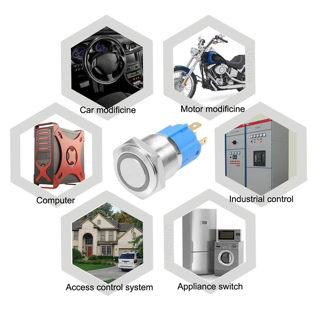 sourcing map metallo aggancio pulsante interruttore 16/mm diametro di montaggio 3/a 1/no 1/NC 220/V blu LED luce testa piatta