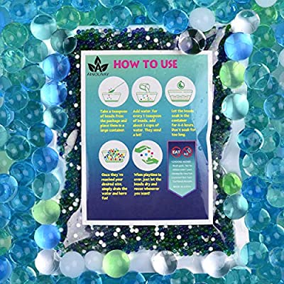 AINOLWAY Water Beads (Half Pound) for Ocean Explorers' Tactile Sensory Experience - 5 Colors Growing Crystal Bead Ocean Exploration - Kit for Kids Sensory Play 20,000ct: Toys & Games