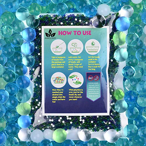 AINOLWAY Water Beads Half Pound for Ocean Explorers#039 Tactile Sensory Experience  5 Colors Growing Crystal Bead Ocean Exploration  Kit for Kids Sensory Play 20000ct