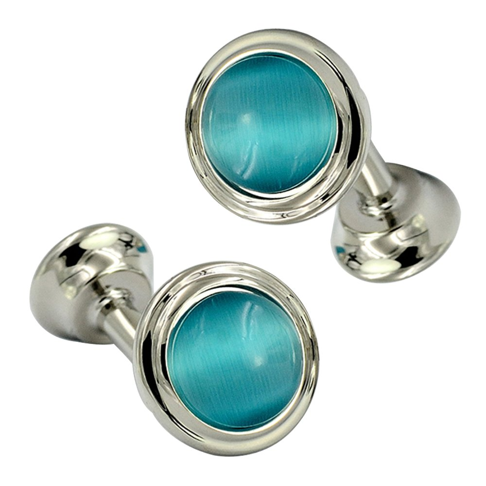 Fashion Blue Round Double Sided Cufflinks Beautiful Cat Eye Stone Art Deco Cufflinks