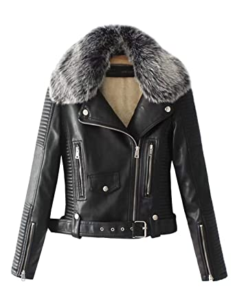 b5da61ce9a99 Lentta Women s Faux Fur Collar Pu Leather Fleece Lined Warm Quilted Moto  Jacket (X-