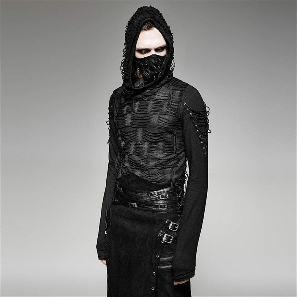 Gothic Hole T Shirt Costumes Double Layers Irregular Hooded Black T Shirt Punk Ripped Men Casual Tee Tops