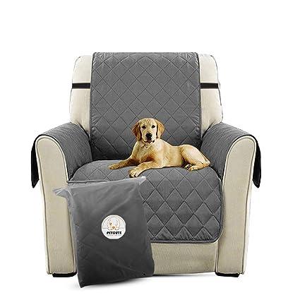 PETCUTE Lujo Cubre para Silla Fundas de Sofa Protector de sofá o sillón, Dos o Tres plazas Gris