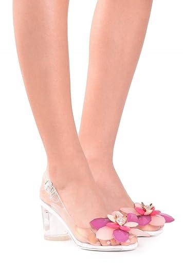 Amazon jeffrey campbell iris clear pink 3d flower slingback jeffrey campbell iris clear pink 3d flower slingback block heel sandal heels 6 mightylinksfo
