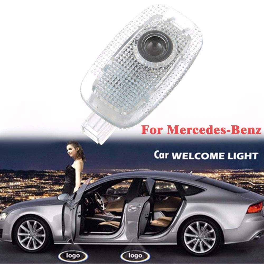 ZNYSTAR 2pcs Car LED Projector Door Lamp Ghost Shadow Welcome Light Courtesy Logo Kit For Benz C Class W203 2001-2007