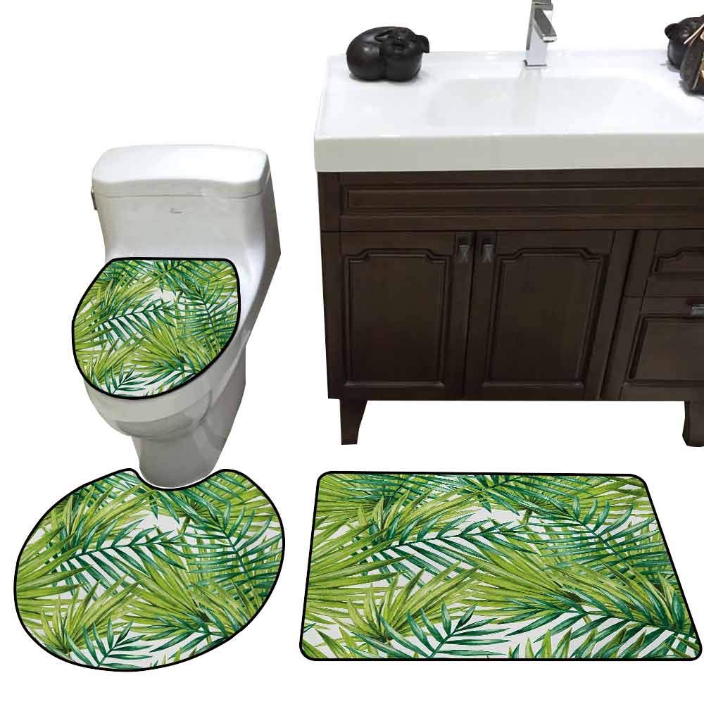 Toilet seat 3 Piece Set Plant Watercolor Tropical Palm Leaves Colorful Illustration Natural Feelings Elongated Toilet Lid Cover Set Fern Green Lime Green
