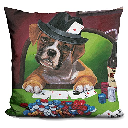LiLiPi Poker Dogs 2 Decorative Accent Throw Pillow by LiLiPi
