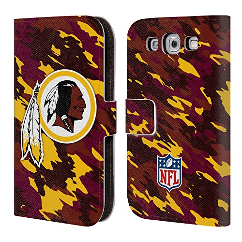 Official NFL Camou Washington Redskins Logo Leather Book Wallet Case Cover For Samsung Galaxy S3 III