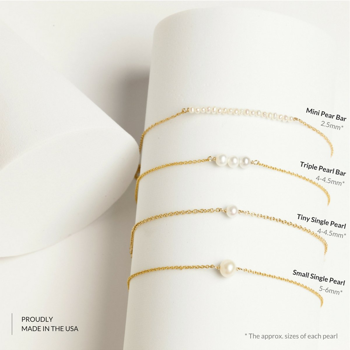 BENIQUE Dainty Necklace Choker for Women - Freshwater Cultured Pearl, Fine Chain for Layering, AAA Cubic Zirconia Drop, 14K Gold Filled, Made in USA, 13''+3'' Adjustable Ext. (Mini Pearl Bar) by BENIQUE (Image #4)