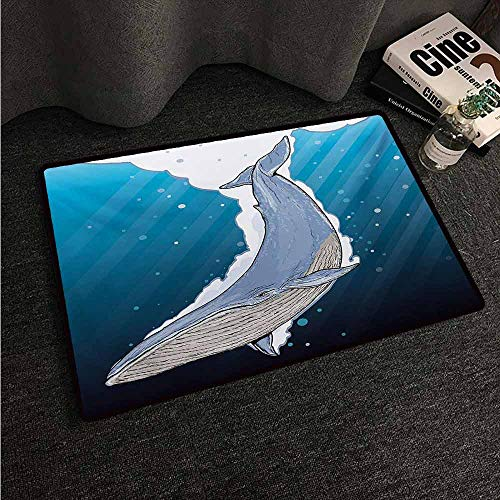 HCCJLCKS Door mat Customization Whale Cartoon Whale Swimming Under Ocean with Fish Shells Near Palm Island Environment Suitable for Outdoor and Indoor use W20 xL31 Multi Colored