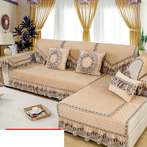 Winter plush European-style sofa cushions Simple fabric modern sofa sets lace arm back scarves-B 50x60cm(20x24inch)