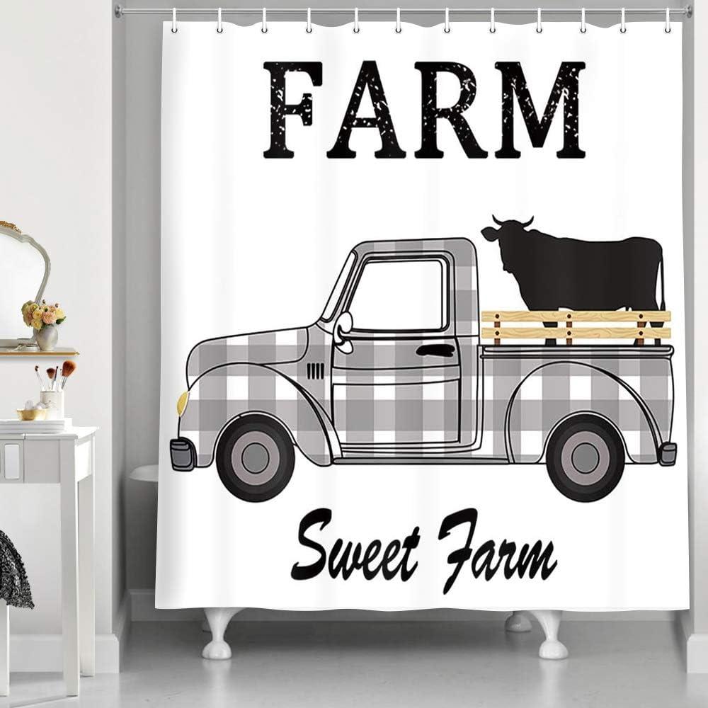 Black and White Buffalo Plaid Farmhouse Shower Curtain, Farm Sweet Farm Animals Cute Cow on Rustic Truck Car Fabric Wooden Shower Curtain, Black and White Checked Bathroom Curtains, 69X70inch