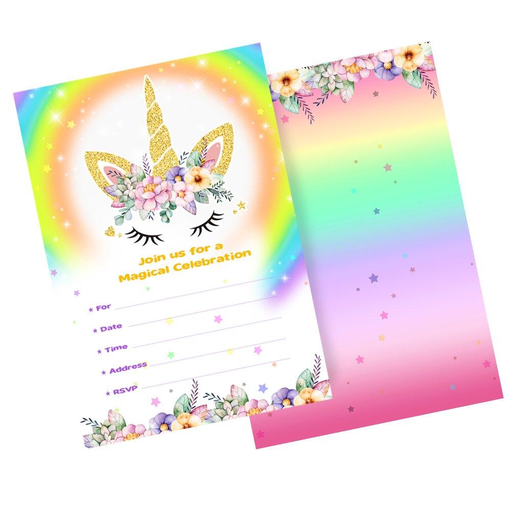 Tarjetas de cumpleaños del unicornio de AerWo 20pcs ...
