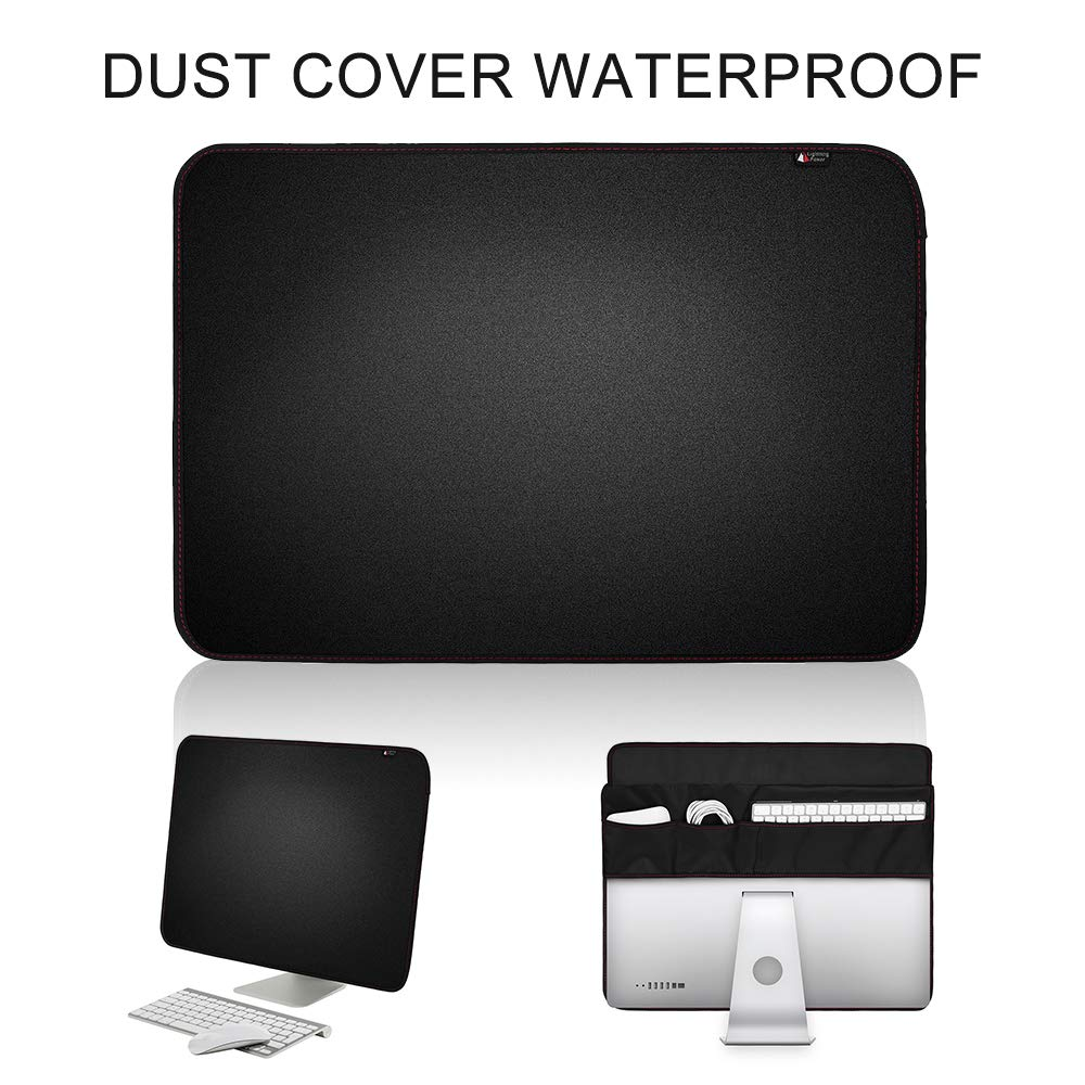 ElementDigital Dust and Water Resistant Cover 21.5 inch Black Polyester Computer Monitor Cover with Pockets for Keyboard Mouse Cable, Protector with Inner Soft Lining for Computer Screen (21.5inch)