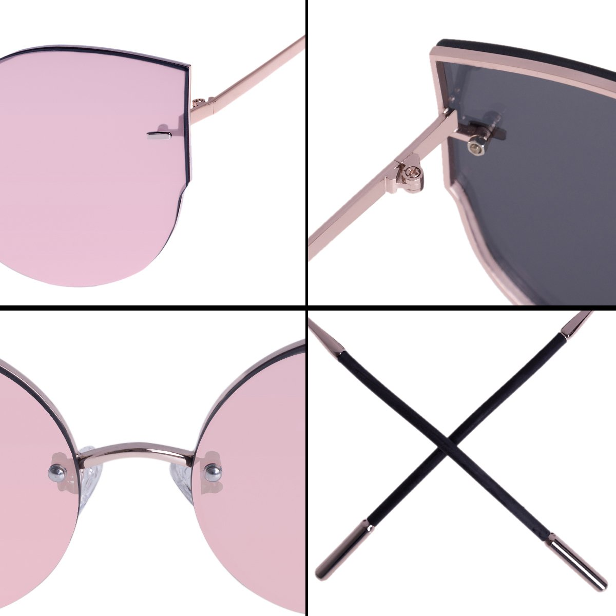 RAYSUN Women Cat Eye Mirrored Flat Lenses Sunglasses Rimless Trendy Frameless Fashion Metal Frame Cute Glasses (Rose gold)