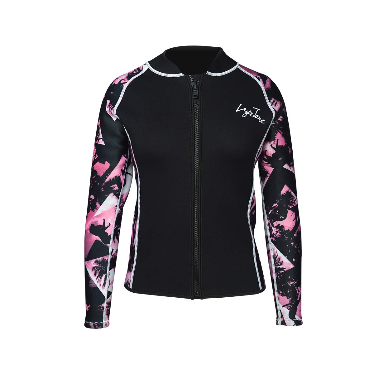 Layatone Wetsuits Top Women Men 3mm Neoprene Jacket Tops Diving Surfing Suit Rash Guard Long Sleeevs Front YKK Zipper Wet Suits Jacket Top Adults (Pink-Lycra Sleeve,L) by Layatone