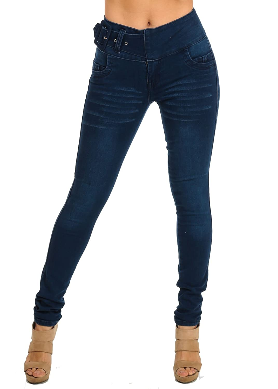 High Waisted Butt Lifting Levanta Cola Womens Juniors Belted Skinny Jeans 10134X