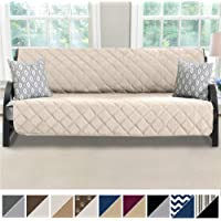 MIGHTY MONKEY Premium Reversible Futon Slipcover, Seat Width to 70 Inch Furniture Protector, 2 Inch Elastic Strap, Washable Slip Cover for Futons, Protects from Kids, Dogs, Cats, Futon, Beige Latte