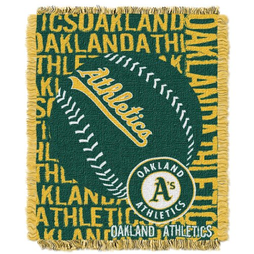 Oakland Athletics Blanket - The Northwest Company Officially Licensed MLB Oakland Athletics Double Play Jacquard Throw, 48