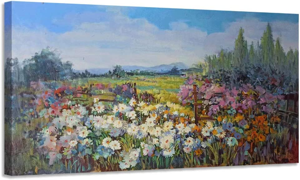 """Canvas Wall Art Colorful Daisy White Floral Field Pictures Prints Natural Wildflowers Landscape Framed Rustic Scenery Artwork for Bathroom Living Room Kitchen Bedroom Office Home Decor- 40""""x20"""" Panel, Ready to Hang"""