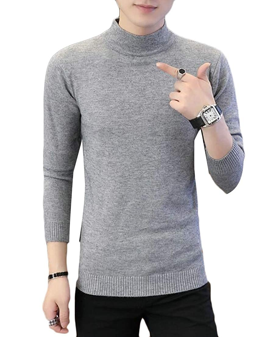 Generic Mens Solid Color Mock Neck Long Sleeve Slim Fit Knitted Pullover Sweaters