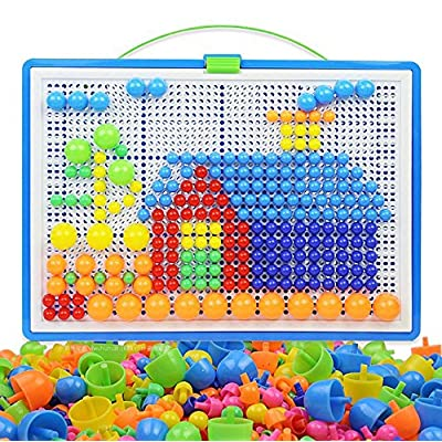 MAGIKON 296-Pack Mushroom Nails Mosaic DIY Science Pile up Toys,Creative Mosaic Pegboard Jigsaw Puzzle Game Educational Toys for Children: Toys & Games