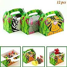 Adorox (12 Boxes) Jungle Safari Zoo Animal Cardboard Favor Treat Boxes Children's Birthday Party Goody Bags Lion Tiger Elephant Zebra Hippo Giraffe