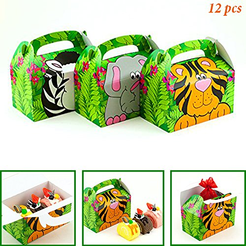 Adorox (12 Boxes) Jungle Safari Zoo Animal Cardboard Favor Treat Boxes Children's Birthday Party Goody Bags Lion Tiger Elephant Zebra Hippo Giraffe