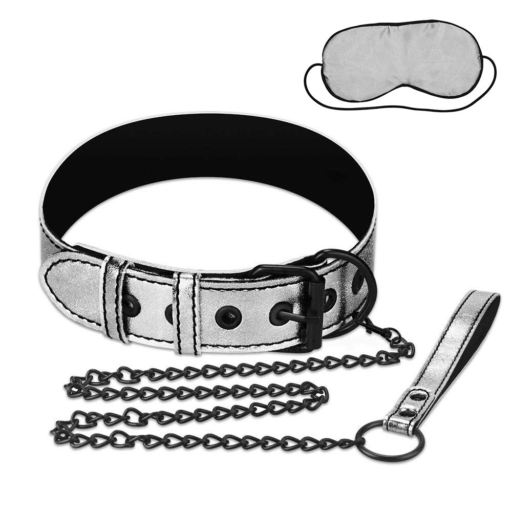 LOVETOY Leather Leash with Blindfold Set (Silver), Neck Cuff for Sex, Adjustable Detachable Metallic Restraint Collar