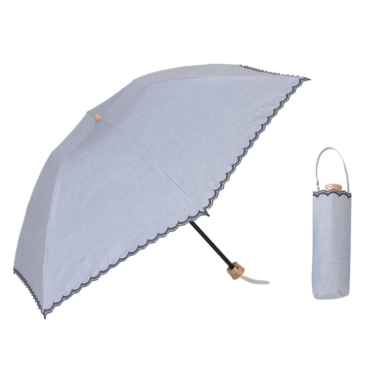 日傘 UV 遮熱 遮光 ミニ傘 スカラップ 晴雨兼用 遮光1級 ラミネート生地 【LIEBEN-0517】 クールプラス (グレー) B00UMV4QES